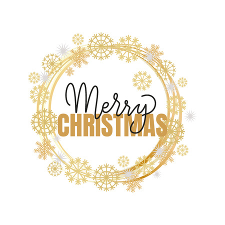 Merry Christmas calligraphy doodles vector winter wreath tag with snowflakes. Xmas greeting lettering, hand drawn New Year celebration regards template