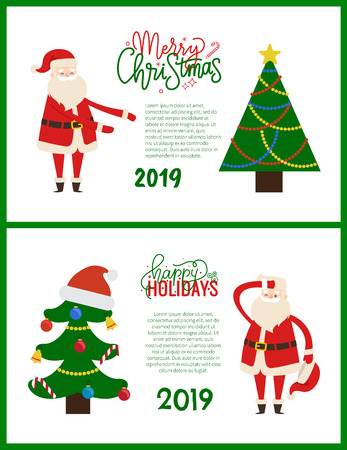 Christmas and New Year 2019 postcards with spruce trees and Santa Claus. Greeting cards vector abstract trees, topped by star and hat, tired Father Frost