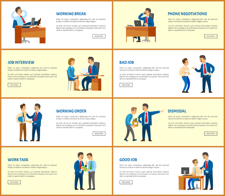 Business and work, boss and employees web posters. Meeting and break, dismissal and working order, phone negotiations and job interview vector pages samples 일러스트