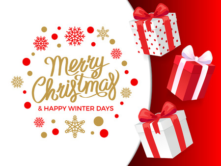 Merry Christmas and happy winter days, presents vector. Snowflakes and gift boxes with wrapping and ribbons. Exclusive offers and deals clearance 일러스트