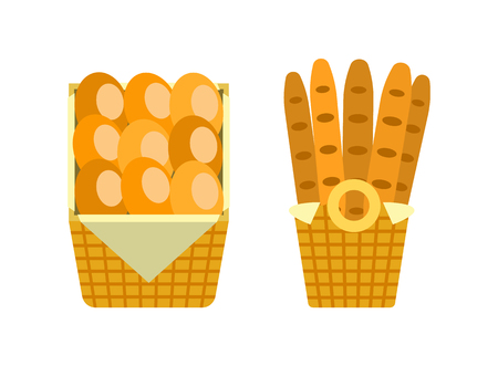 Baguettes and buns in wooden basket vector bakery shop long loaves of bread isolated on white. French moulding fresh breads in package vector icons