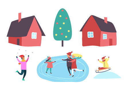 Winter season people outdoor having fun together set vector. Christmas decorated pine tree, houses and family skating on ice. Sledges riding by child