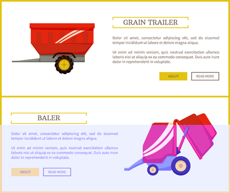 Grain trailer and baler set of poster with text sample. Container for transportation and device for compressing dey hay into cubes for storage vector Illustration