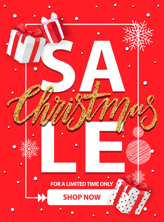 Christmas sale for a limited time vector brochure design with gift boxes, snowflakes and frame. Red cover with info about Xmas and New Year discounts