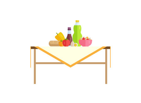 Healthy food and juice in bottle on table. Tomatoes with egg, bell pepper near bread loaf, bowl of porridge full of mushrooms vector illustration.