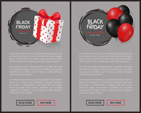Sale on Black Friday, gift box, wrapped in dotted paper. Dark and red helium air balloon with 30 discount vector. Special offer up to 70 percent off labels