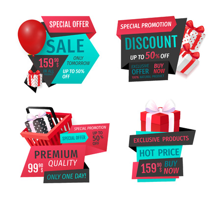 Presents in shopping basket, inflatable balloon special shop offer promo advert labels isolated. Mega discount, exclusive product sale banners set vector