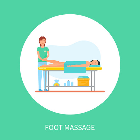 Foot massage session on table cartoon vector poster in circle. Masseuse in uniform massaging legs of client lying on special table under towel, relaxing spa