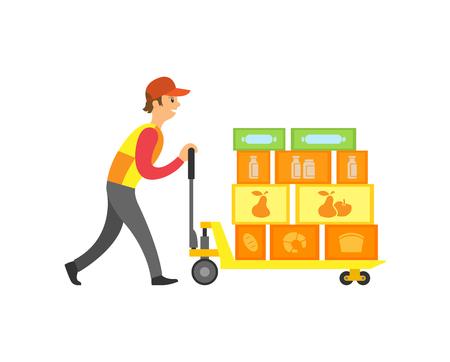 Lavoratore del caricatore in supermercato con scatole sulla macchina con vettore di ruote. Uomo di lavoro che spinge stoccaggio e ordini di mercato. Contenitori con merce all'interno Vettoriali