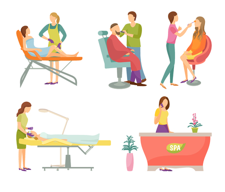 Spa salon visagiste face care and makeup, cosmetician and barber. Isolated icons set, wax epilation, receptionist woman by table and clients vector Stock Illustratie