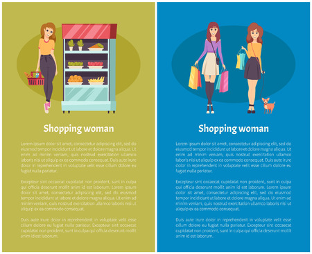 Shopping women with bags and purchases posters set with text vector. Lady walking dog on leash, grocery with vegetables and fruits organic production