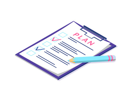 Plan on page of clipboard, pen and documentation vector. Checklist and checkmarks ticks, concept of business documents. Planning of company activities Çizim
