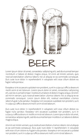 Beer and tasty ale with foam poured into various goblets poster with text. Vector illustration of graphic art, pair of glasses with refreshing drink Stock Illustratie