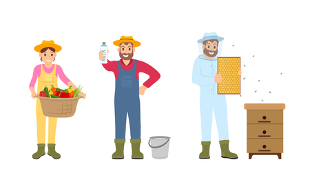 Woman and beekeeper wearing uniform vector. Isolated icons of farmers with bucket full of milk, basket with vegetables. Harvesting farming season Illustration