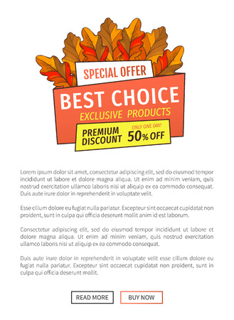 Best choice special promotion discount on Thanksgiving day, exclusive offer buy now poster with oak tree leaves. Vector autumn sale emblem yellow foliage Stock Vector - 125919452