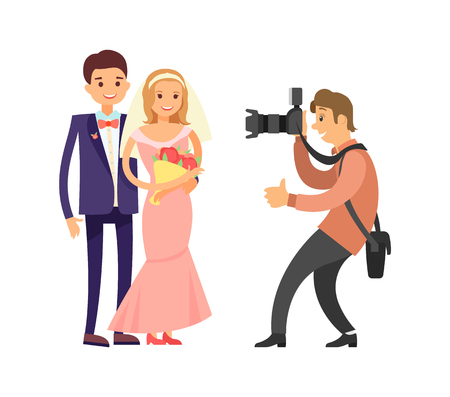 Just married couple in wedding gowns and experienced photographer with camera taking shots and showing approval sign. Vector newlywed husband and wife