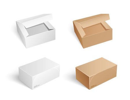 Packages and boxes with opened caps isolated icons set vector. Packaging and storage, safe transportation and keeping inside of carton containers Illustration
