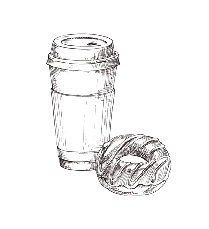 Coffee in plastic cup, drink and chocolate glazed donut set. Monochrome sketches outline typical breakfast. Doughnut and beverage vector illustration