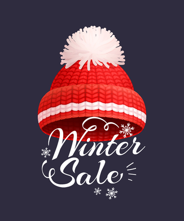 Winter Sale Poster Knitted Red Hat Vector Icon Illustration