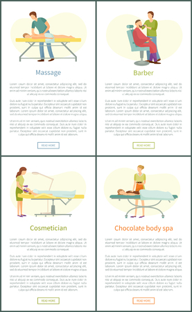 Massage and hairdressing, cosmetician and chocolate body spa in clinic. Cosmetic procedure in beauty salon and barber shop vector web posters set