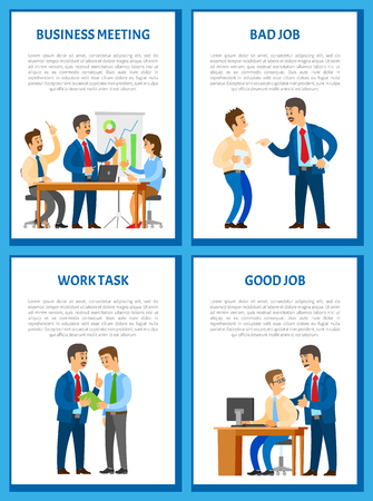 Business meeting, conference with charts and diagrams on whiteboard vector. Teamwork brainstorming, dismissal of worker by angry boss, chief executive