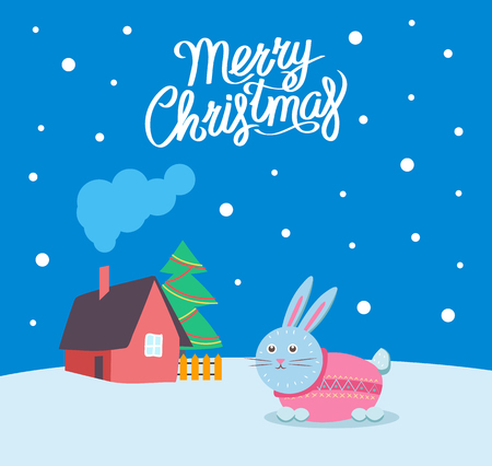 Merry Christmas bunny wearing sweater poster with greeting text vector. Rabbit walking by house with chimney and smoke. Winter season holiday card Ilustrace