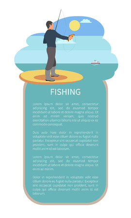 Fishing with rod or tackle, angling man. Fisher with throw-line and perch or bass fish take in hand standing near river or lake back vector poster. Illustration