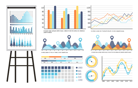 Infographics and tables on whiteboard presentation vector. Board containing strategy planning statistics results of investigation. Data in visual form