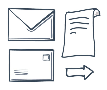 Office paper with closed message in envelope isolated icons set vector. Correspondence and information in letter, arrow showing direction to right
