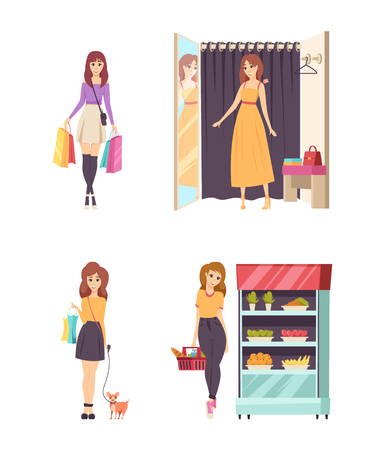 Female in changing room wearing dresses vector. Lady with paper bags and dog pet on leash. Customer at grocery shop buying fruits and vegetables Illustration