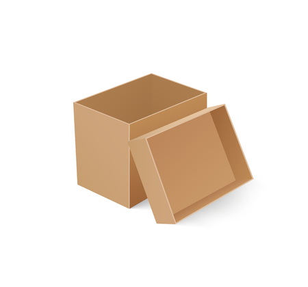 Package box with open cap empty container isolated icon closeup vector. Cardboard used for storage of items and goods, transportation cardboard item