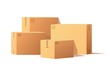 Boxes with Adhesive Tape Rectangular Square Items