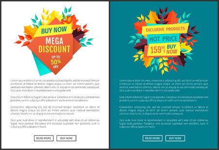 Mega discount and hot price posters set. Exclusive production natural products and seasonal offer sellout. Autumnal promotion and proposition vector