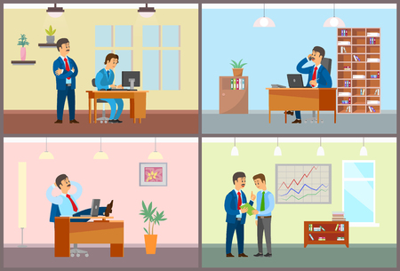 Boss and employees working in office business people set vector. Chief controlling new worker, novice by laptop. Manager talking on phone at workplace