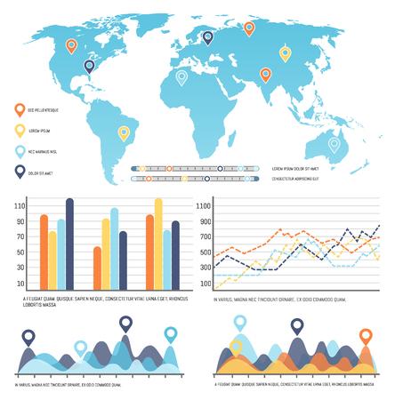 Mappa del mondo con dati visivi di infografica in tutto il mondo
