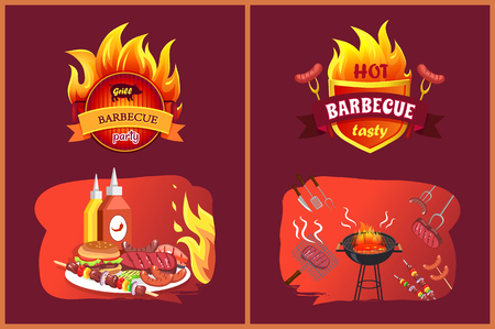 Hot barbecue tasty party set with emblems. Sausages hamburger on plate, satay and brochettes with vegetables. Roasted beefsteaks and brazier vector