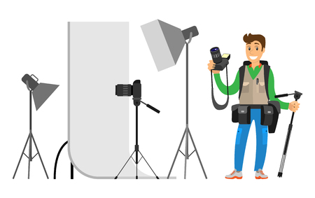 Photographers taking picture with photo equipment. Flashstand portable mounted flash speedlite flashgun isolated on white vector studio photographing gear