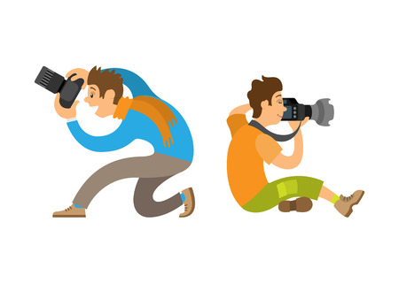 Photographers taking photo with modern digital cameras sitting on knee or floor. Man making picture, powerful zoom device vector illustrations set. Illustration