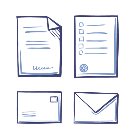 Office Papers, Envelopes Closed and Open Isolated