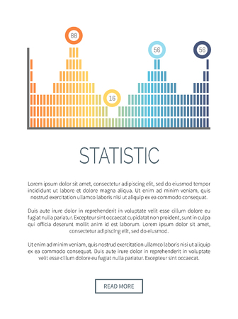 Statistic infochart in different colors, analytics design vector. Scheme with pointers, peak increasing. Flowchart with numeric data and figures information Ilustração