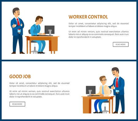 Worker control and good job posters. Company leader supervising new office worker vector. Director pleased with work of employee, praising him for good results