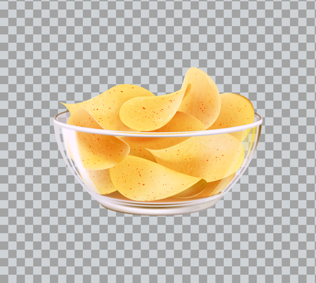 Chips in glass bowl as snack to beer. Fast food meal made of fried slices of potato in heap inside dishware realistic 3D vector on transparent backdrop Çizim