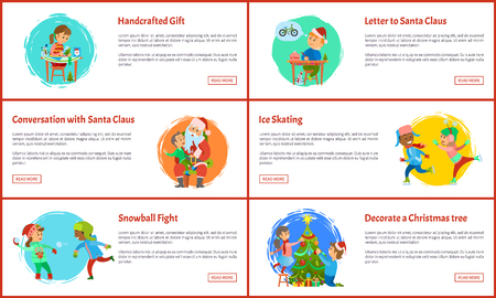 Conversation with Santa and decorative Christmas tree, handcrafted gift and letter to Saint Nicholas, snowball fights and ice skating winter holidays