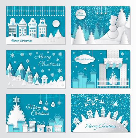 Merry Christmas paper cut, old town in winter vector. Snowman wearing hat, pine wood with mountains and hills. Fir and presents, Santa Claus gifts