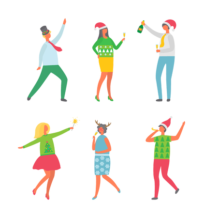 Christmas party, New Year celebration meeting vector. Man holding champagne bottle, dancing guy, lady with bengal lights and horns head decoration