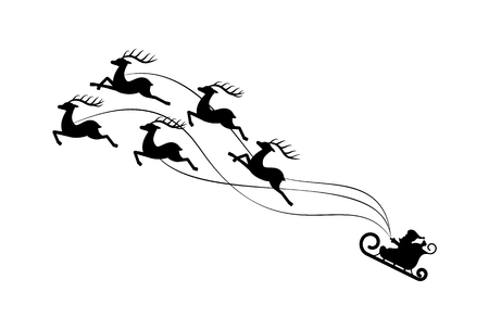 Christmas paper cut sledding Santa Claus with five deers running uphill. Black foreground and white back ground. Handmade postcard vector illustration