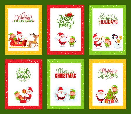 Collection of Christmas cards with Santa. Vector of festive cartoon illustrations with Santa Clause, elf and deer jumping, listening to music, having fun and text