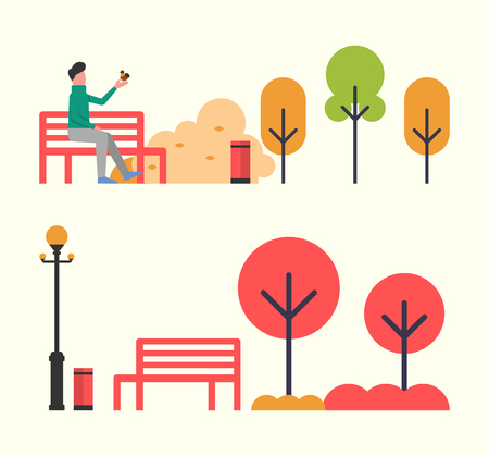 Man sitting on wooden bench in autumn fall park vector. Lantern and empty seat, trees and bushes of public place. Male playing with bird on his hand