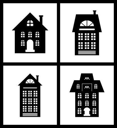 Building Old Fashioned Houses Silhouettes Set Illustration