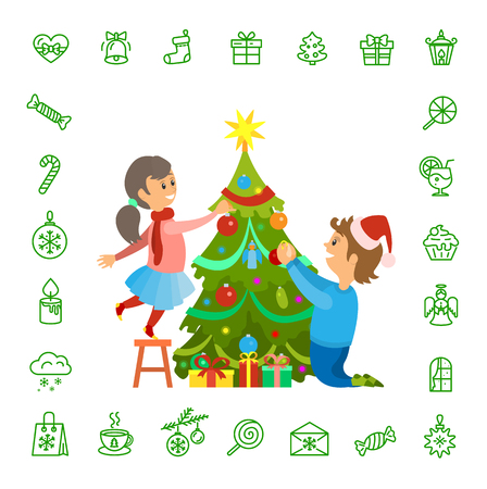 Christmas holidays preparation, tree decoration and isolated icons set vector. Pine decorated with baubles and star. Mail and candle lollipop and cake
